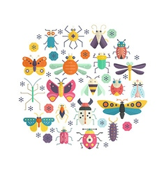 Bugs in Circle vector image
