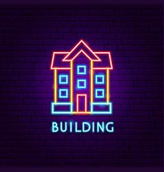 building neon label vector image