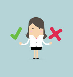 businesswoman with right and wrong signs vector image