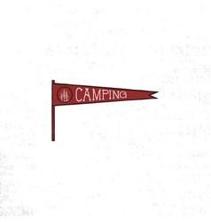 camping pennant template vintage hand drawn vector image