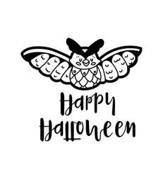 cartoon owl wishing happy halloween vector image