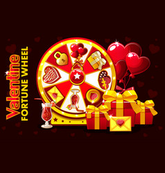 cartoon st valentine lucky roulette spinning vector image