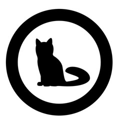 cat icon black color in circle or round vector image