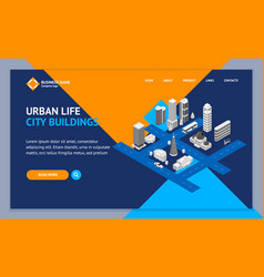 city map concept landing web page template 3d vector image