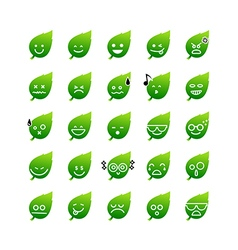 Collection of difference emoticon icon of leaf on vector image