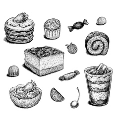 Collection of hand drawn ink desserts vector image
