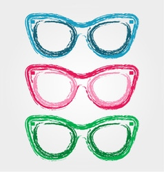 Colorful sunglasses sketched with crayon vector image