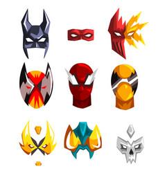 colorful super hero masks set vector image