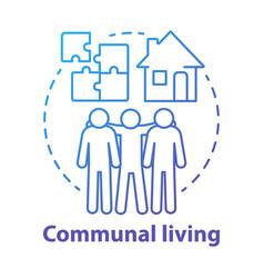 Communal living blue concept icon cohousing vector