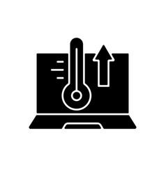 computer overheating black glyph icon vector image