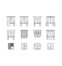 Curtains Types Thin Line Set vector