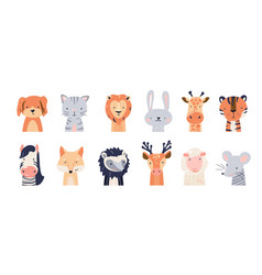 cute animal bafaces set vector image