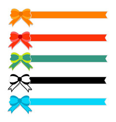 cute colorful bow with ribbon on white background vector image