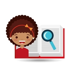 Cute girl open book study search vector