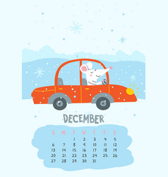 December calendar page with cute rat driving car vector