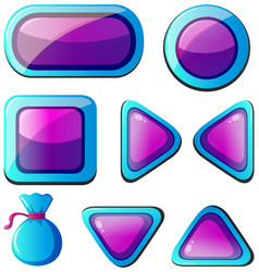different shapes of buttons in purple and blue vector image