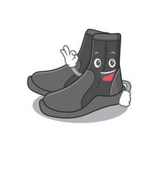 Dive booties cartoon mascot design with okay vector
