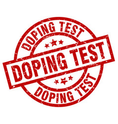 Doping test round red grunge stamp vector