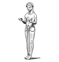 etruscan figure is a bronze sculpture vintage vector image