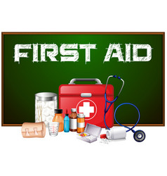 First aid word on board and different equipment vector