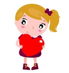 First love - cute little girl holding red heart vector image