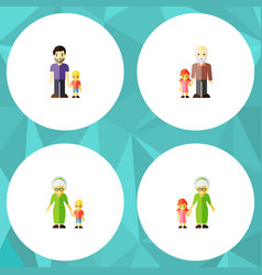 flat icon family set of grandma grandchild son vector image
