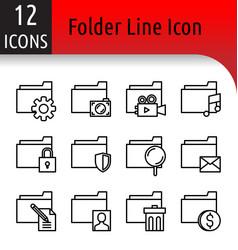 folder line icon vector image