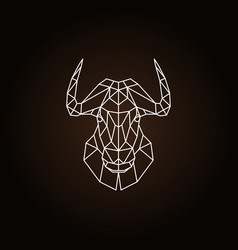 Geometric head bull on black background vector