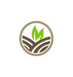 Green leaf nature farmland logo vector