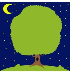 Green tree on meadow moon is shining vector