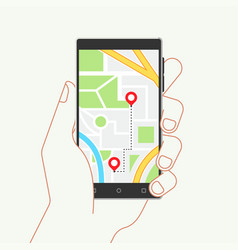 Hand holding phone with map and mobile navigation vector