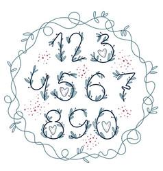 handwritten blooming numbers vector image