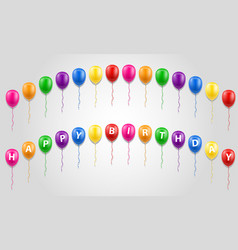 happy birthday inscription text on balloons stock vector image