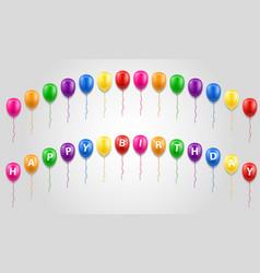 happy birthday inscription text on balloons stock vector image