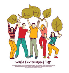 Happy group people world environment day leaf vector