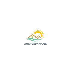 Home roof sun shine natural company logo vector