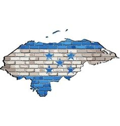Honduras map on a brick wall vector