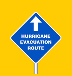 hurricane evacuation route sign board hurricane vector image