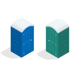 Isometric bio toilet cabin Blue and green Hiking vector