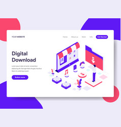 landing page template of digital download vector image