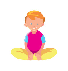 Little boy in lotus pose icon vector