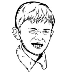 little emotional boy made in hand drawn style vector image