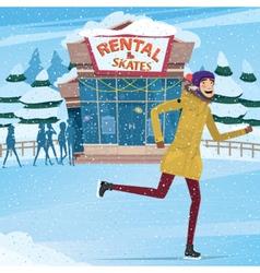 Man took the rental skates vector