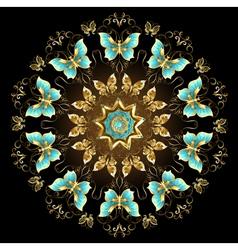 Mandala of golden butterflies vector