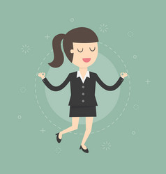 Meditating businesswoman vector