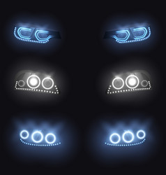Modern car glowing headlights set vector