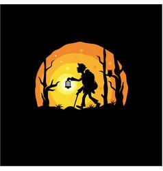 night adventure logo design vector image