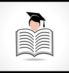 Open book icon with graduate student vector