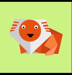 origami orange paper lion vector image