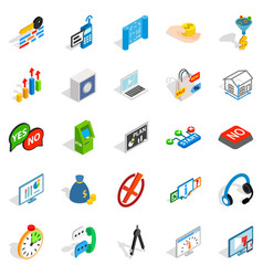 Patent icons set isometric style vector